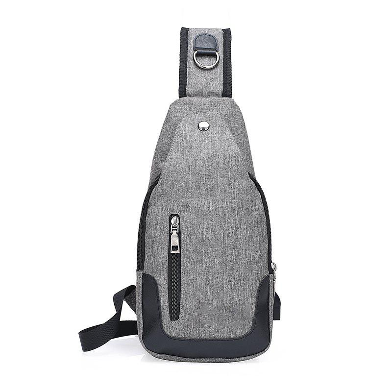 Pocket Multifunctional Waterproof Oblique Chest  Canvas Shoulder Bag - GRAY