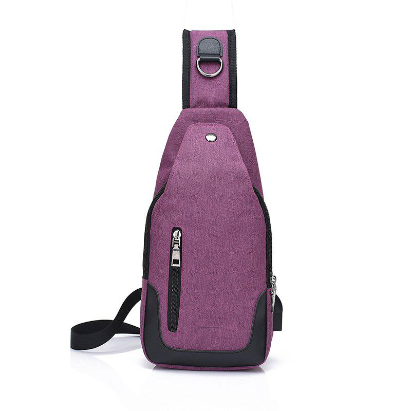Pocket Multifunctional Waterproof Oblique Chest  Canvas Shoulder Bag - PURPLE