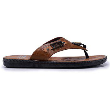 Fashion Outdoor Walking Leather Slippers - RUST 44