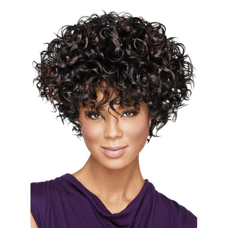 New Fashon Women Short Curly Tousled Synthetic Hair Wigs with Bangs - COFFEE