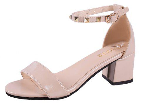 Coarse And Rivet Buckle Strap Anti-skid Sandal - BEIGE ONE SIZE