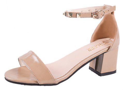 Coarse And Rivet Buckle Strap Anti-skid Sandal - BLANCHED ALMOND 38
