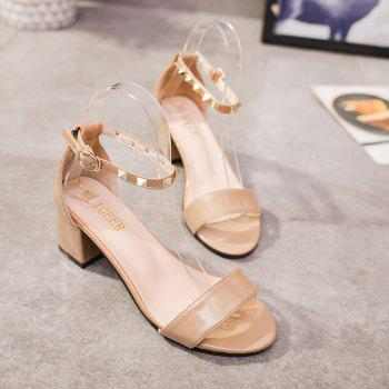 Coarse And Rivet Buckle Strap Anti-skid Sandal - BLANCHEDALMOND ONE SIZE