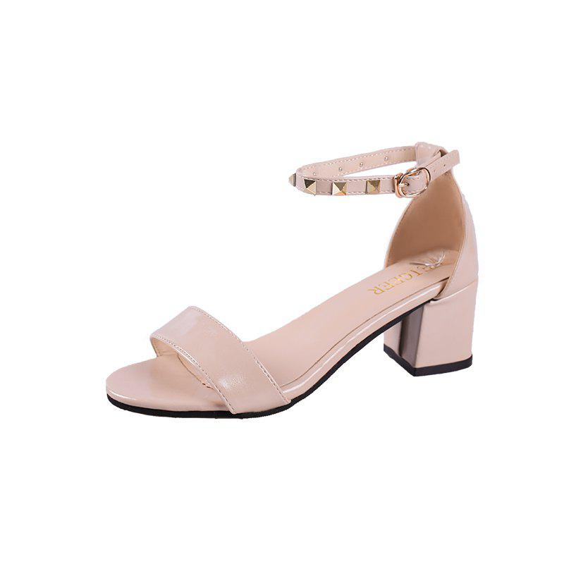 Coarse And Rivet Buckle Strap Anti-skid Sandal - BEIGE 34