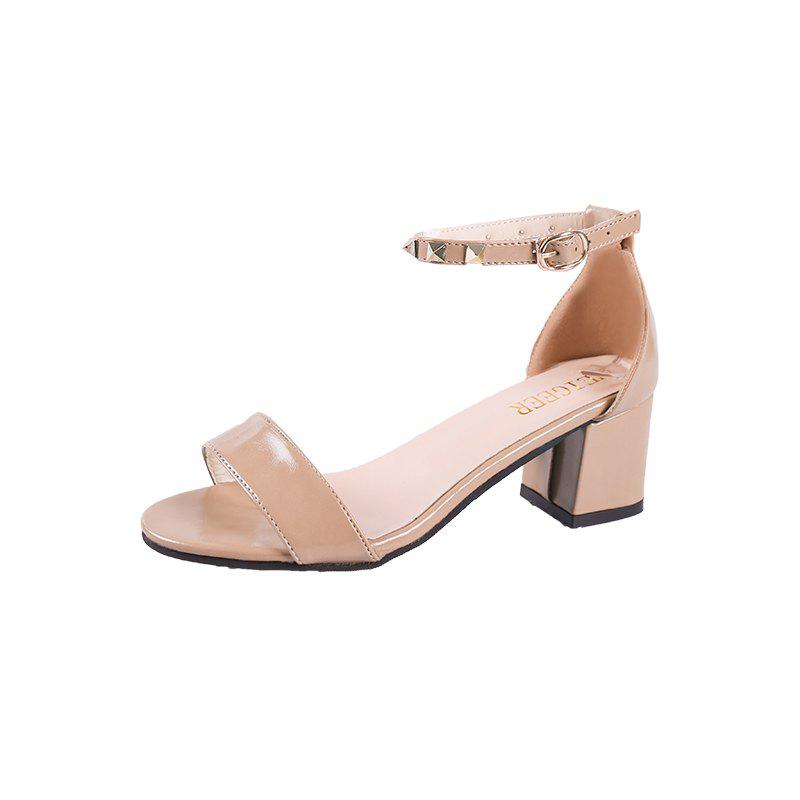 Coarse And Rivet Buckle Strap Anti-skid Sandal - BLANCHED ALMOND 39