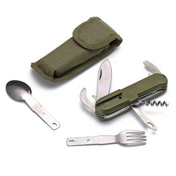 Outdoor Stainless Steel Folding Camping Multi Function Tableware - HAZEL GREEN