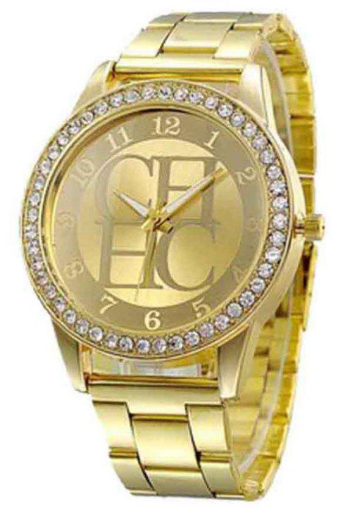 Men Alloy Artificial Diamond Encrusted Fashion Steel Band Watch - GOLD