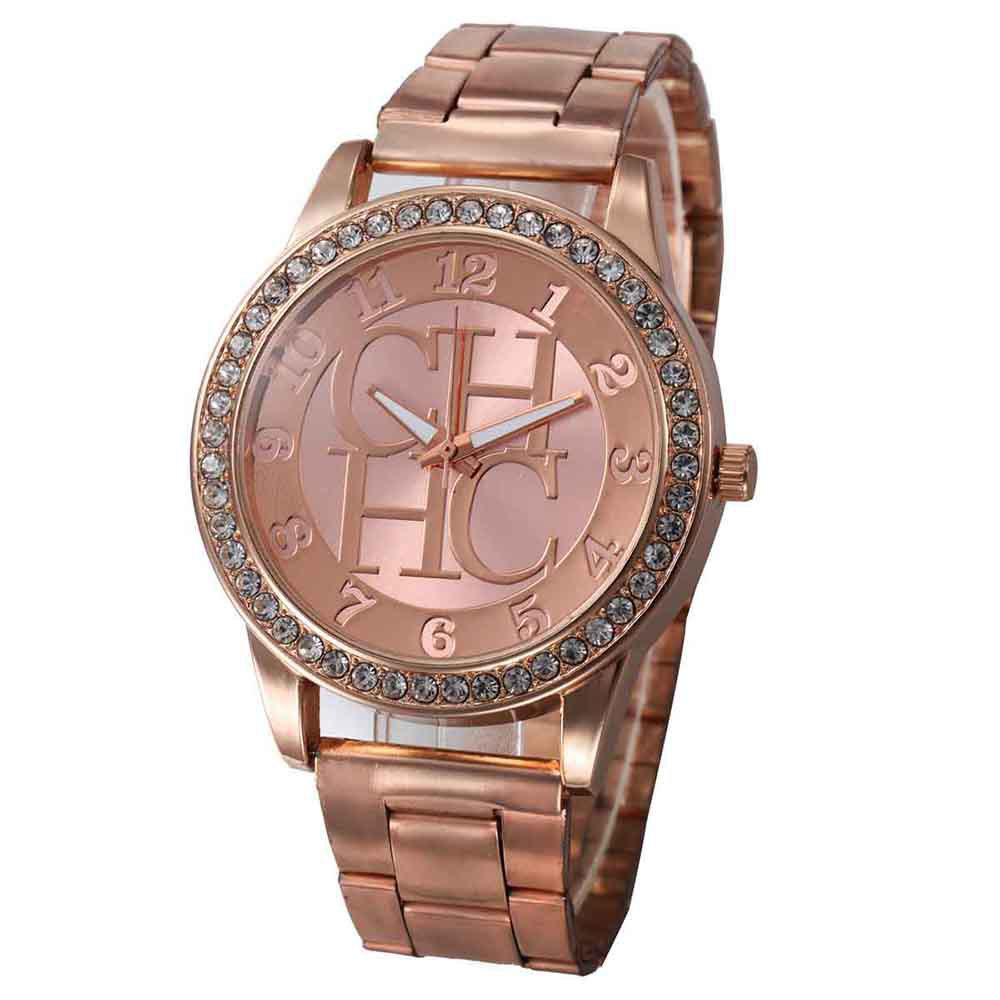Men Alloy Artificial Diamond Encrusted Fashion Steel Band Watch - ROSE GOLD