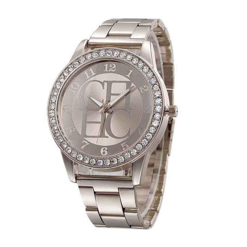 Men Alloy Artificial Diamond Encrusted Fashion Steel Band Watch - SILVER