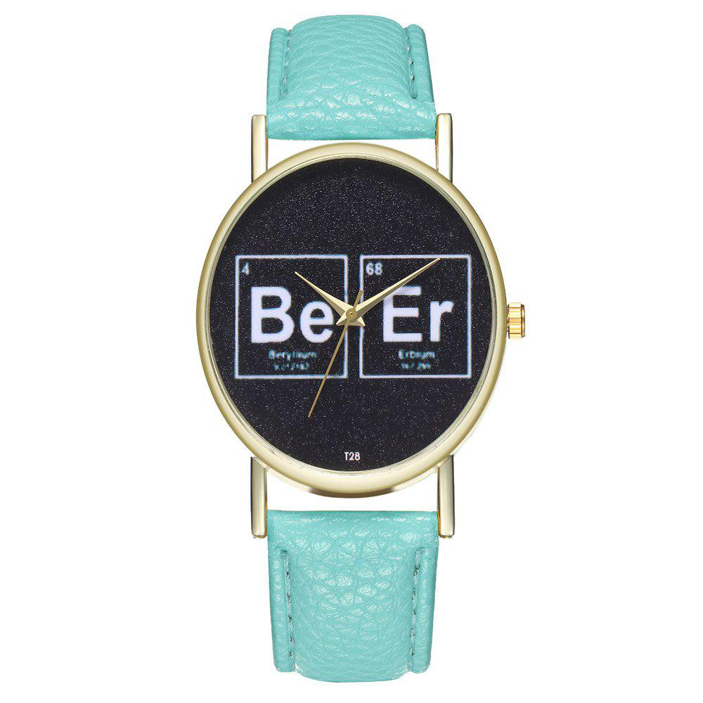 Zhou Lianfa T28 Creative Leather Watch - MINT GREEN