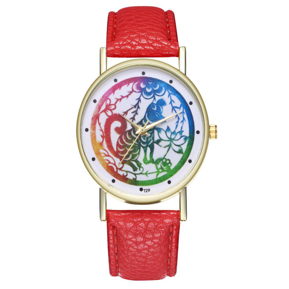 Zhou Lianfa T29 Dog Pattern PU Band Watch - RED
