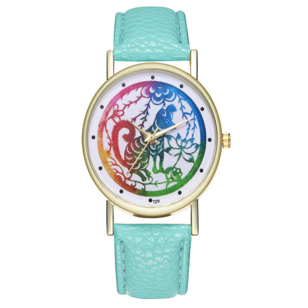 Zhou Lianfa T29 Dog Pattern PU Band Watch - MINT GREEN