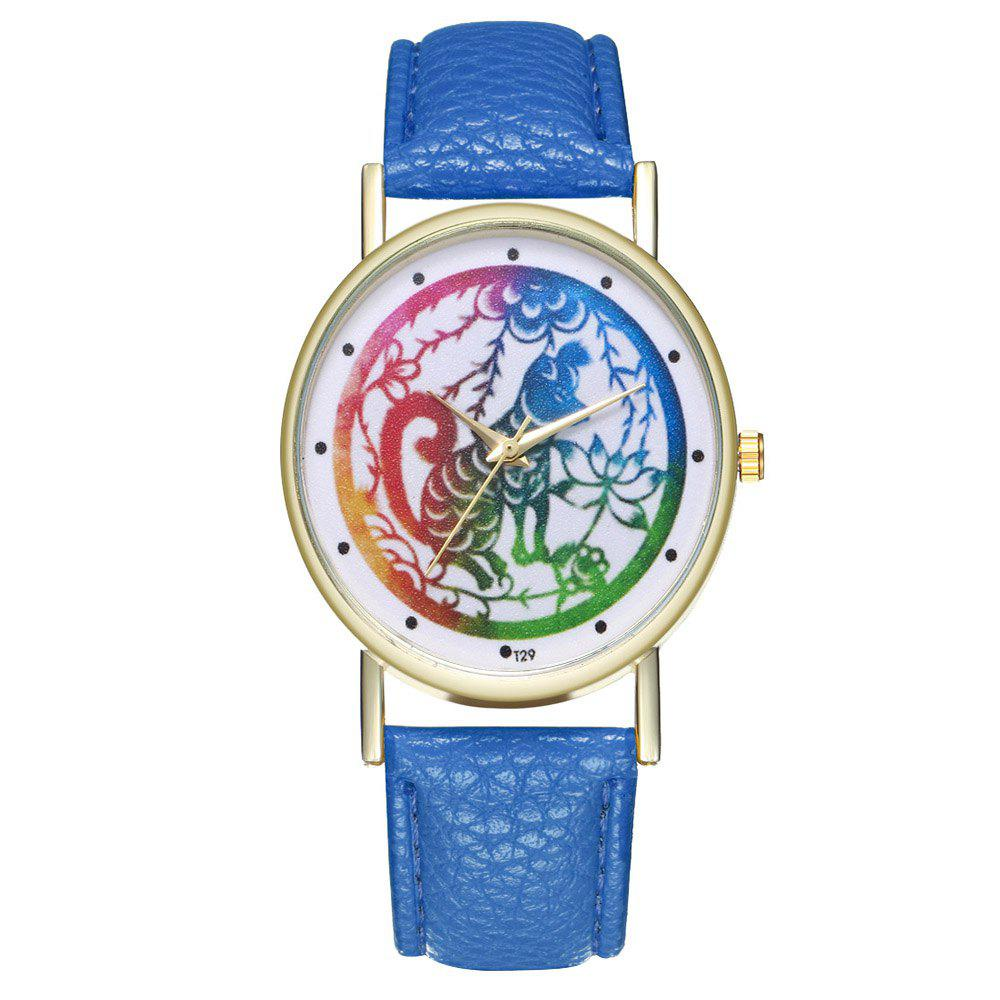 Zhou Lianfa T29 Dog Pattern PU Band Watch - ROYAL BLUE