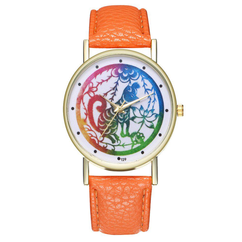 Zhou Lianfa T29 Dog Pattern PU Band Watch - ORANGE