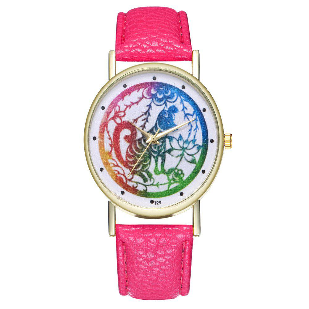 Zhou Lianfa T29 Dog Pattern PU Band Watch - DIMORPHOTHECA MAGENTA