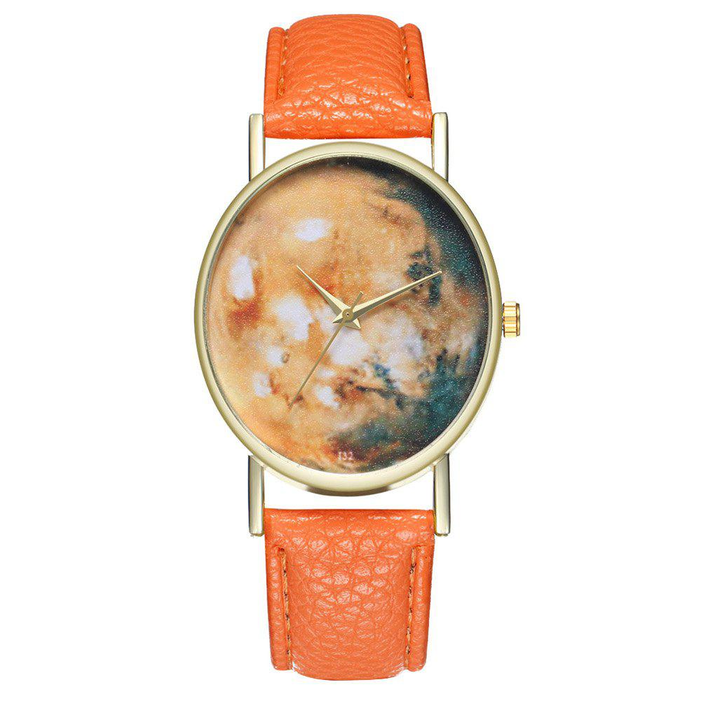 Zhou Lianfa Brand Star Astronomical Leather Watch - ORANGE