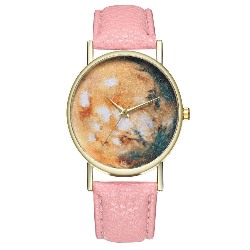 Zhou Lianfa Brand Star Astronomical Leather Watch - PINK
