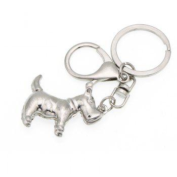 Creative Puppy Shape Decoration Rhinestone Key Chain - SILVER