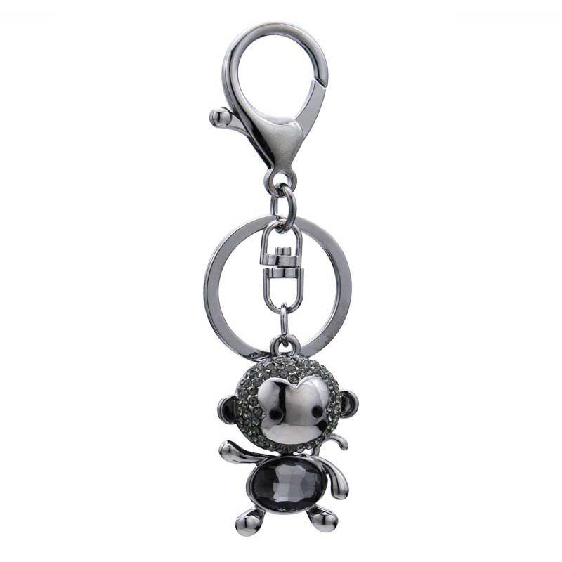 Creative Monkey Shape Decoration Rhinestone Key Chain Pendant Ornament - GUNMETAL