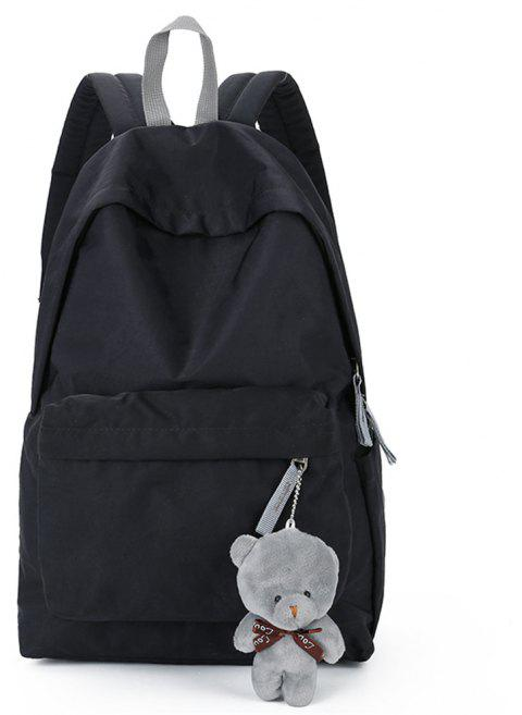 Small Fresh Fashion Simple Solid Color Wild Large-Capacity Student Female Travel Backpack Tide - BLACK