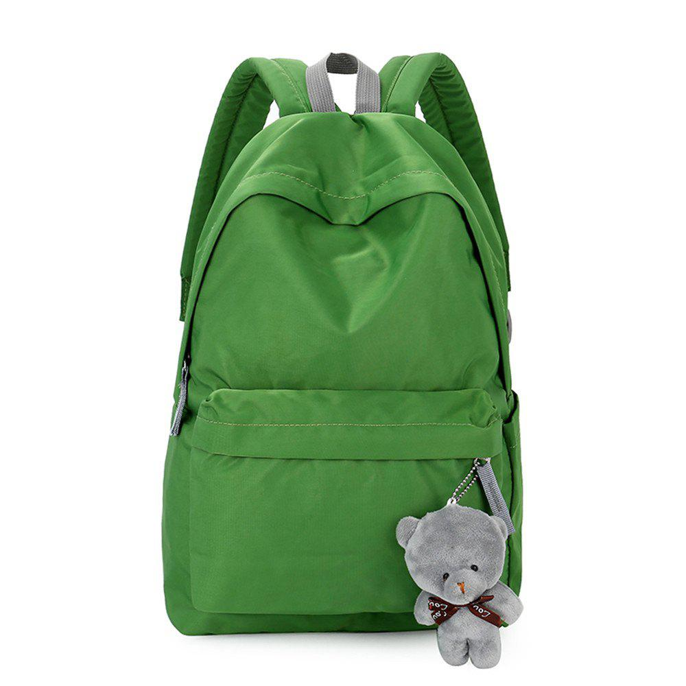 Small Fresh Fashion Simple Solid Color Wild Large-Capacity Student Female Travel Backpack Tide - GREEN