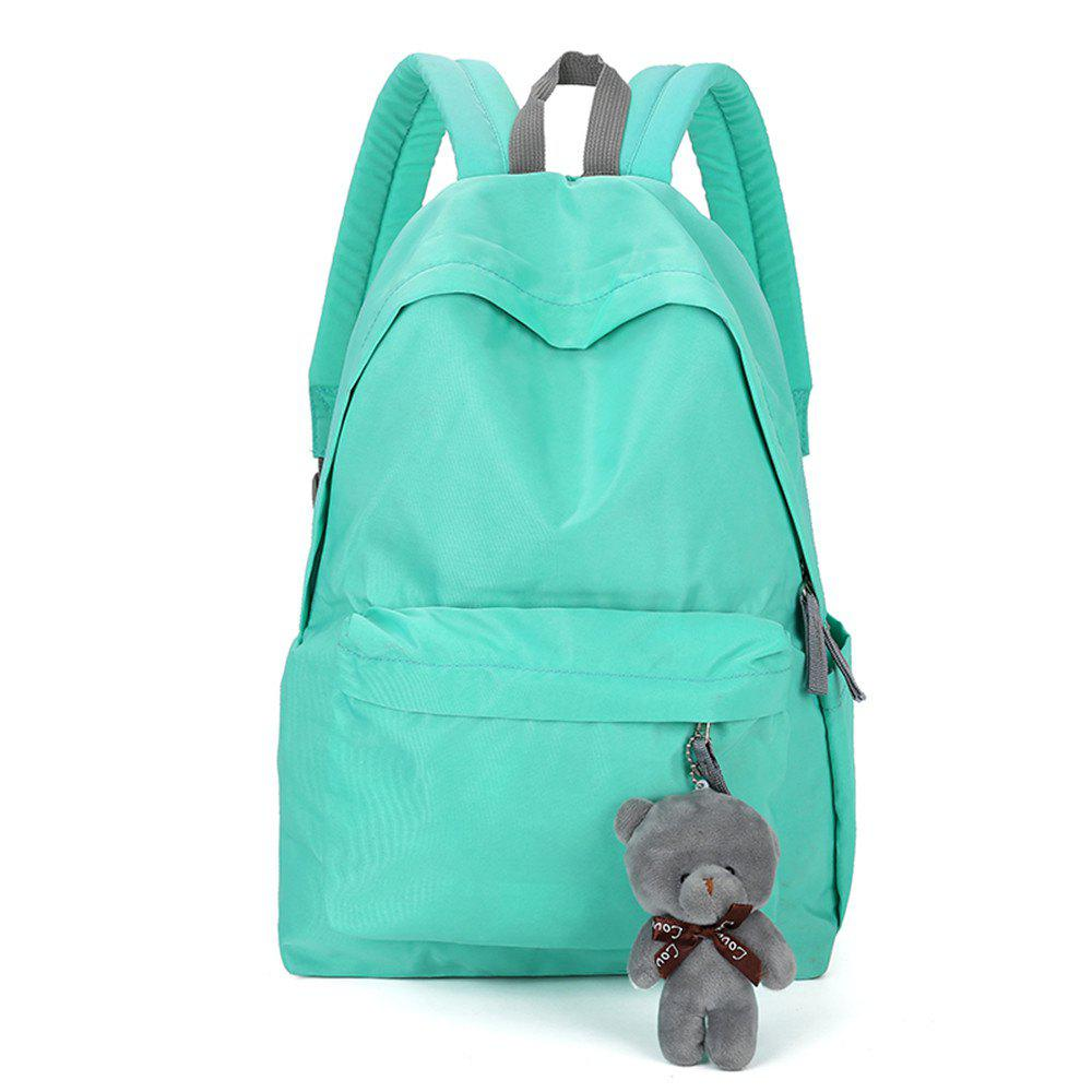 Small Fresh Fashion Simple Solid Color Wild Large-Capacity Student Female Travel Backpack Tide - LIGHT BLUE