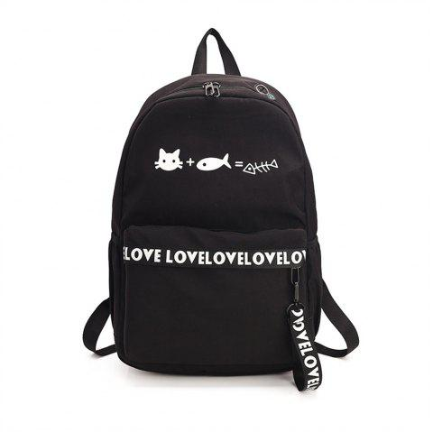 Canvas Large Capacity Small Fresh and Simple Simple Solid Color Female Backpack Tide - BLACK