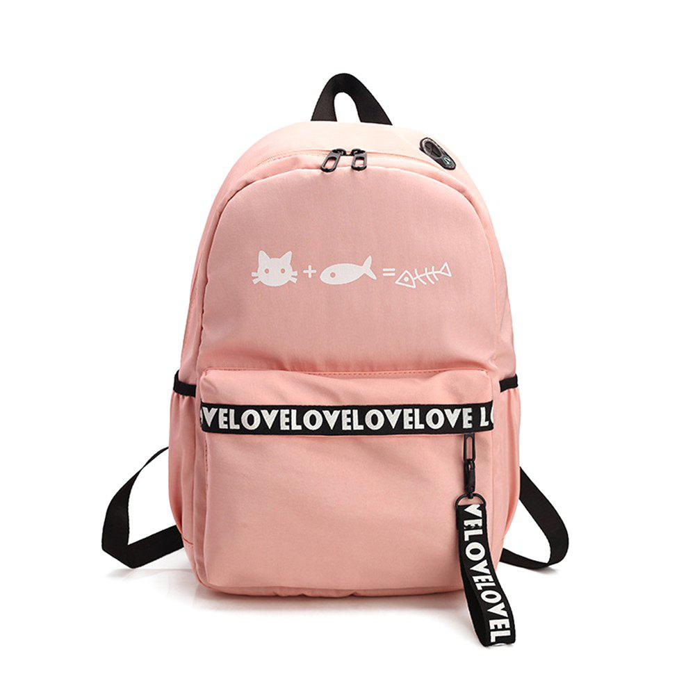 Canvas Large Capacity Small Fresh and Simple Simple Solid Color Female Backpack Tide - PINK
