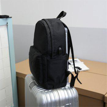 Fashion Wild Simple Canvas Large-Capacity Solid Color Men'S Backpack Tide - BLACK