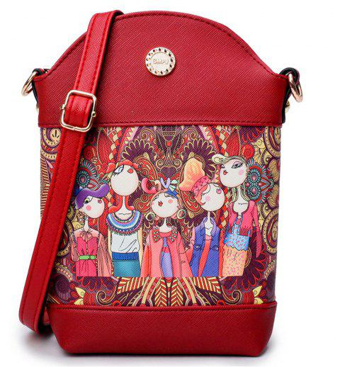 Fashion Painting Simple and Cute Fresh Small Wild Shoulder Diagonal Bucket Bag Tide - RED