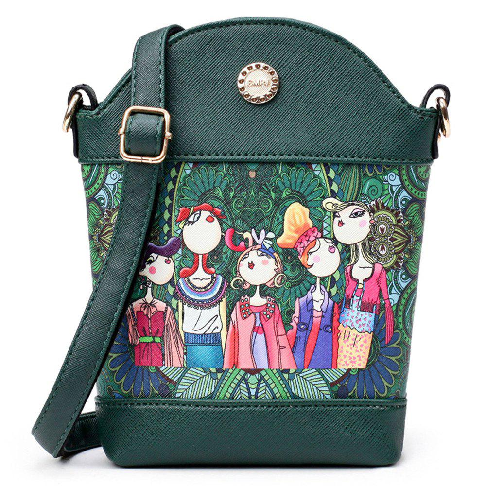 Fashion Painting Simple and Cute Fresh Small Wild Shoulder Diagonal Bucket Bag Tide - GREEN