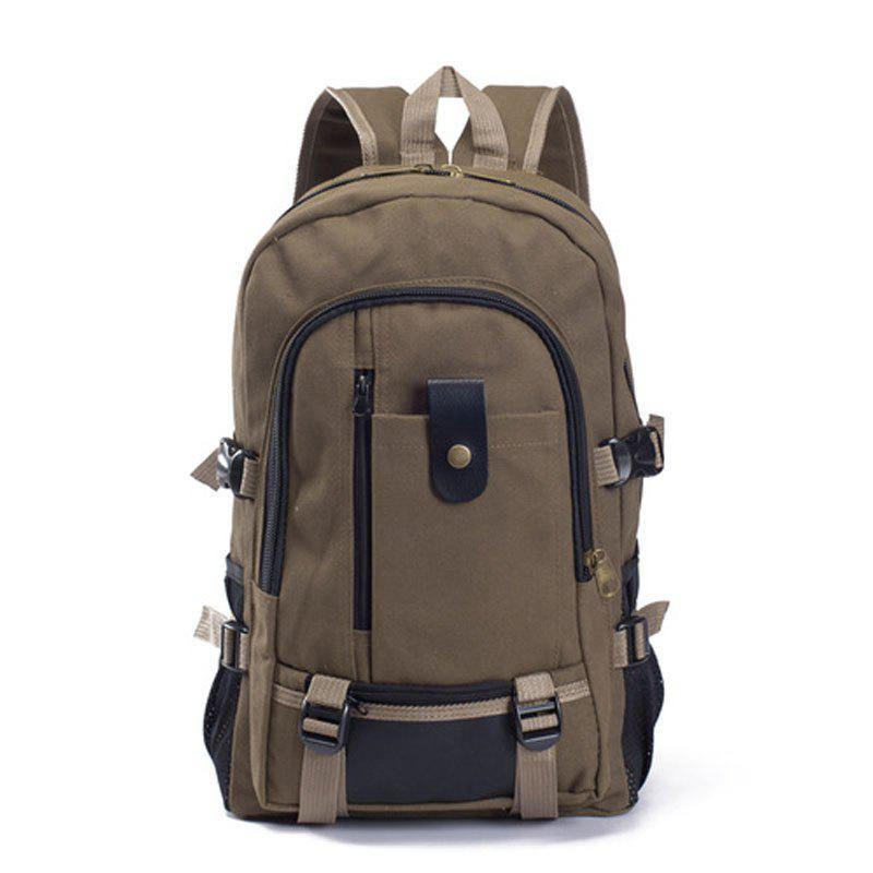 Couple Side Pocket Canvas Backpack - COFFEE VERTICAL