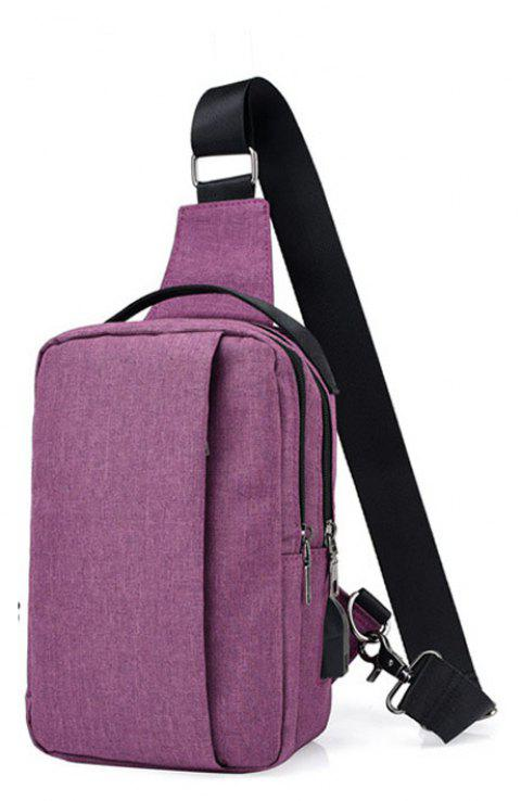 USB Charging Shoulder Chest Bag Sports Canvas for Outdoor - PURPLE DRAGON VERTICAL