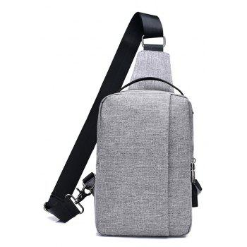USB Charging Shoulder Chest Bag Sports Canvas for Outdoor - GRAY VERTICAL