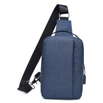 USB Charging Shoulder Chest Bag Sports Canvas for Outdoor - BLUE VERTICAL