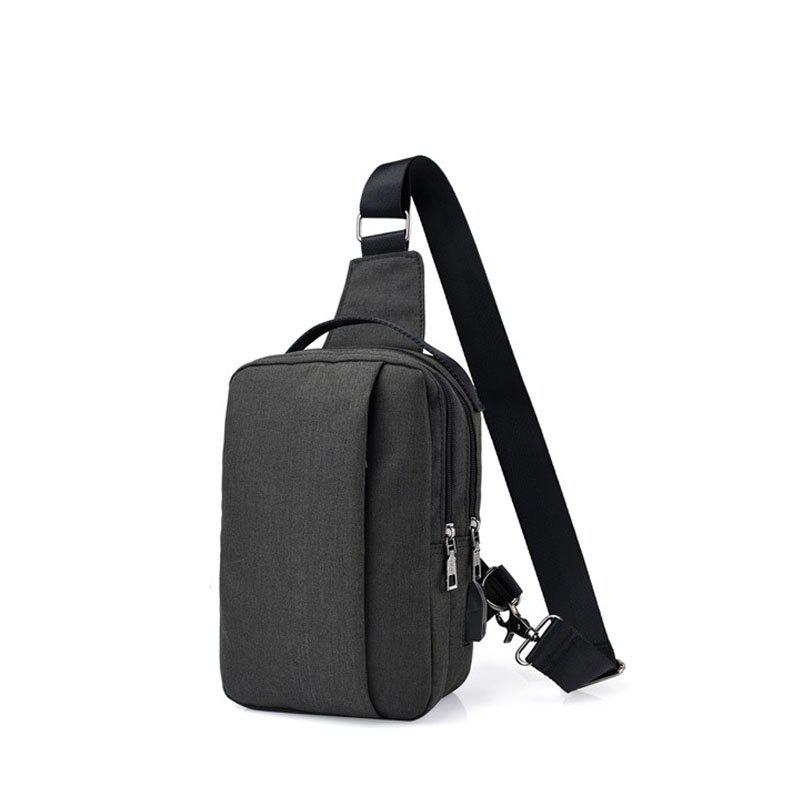 USB Charging Shoulder Chest Bag Sports Canvas for Outdoor - BLACK VERTICAL