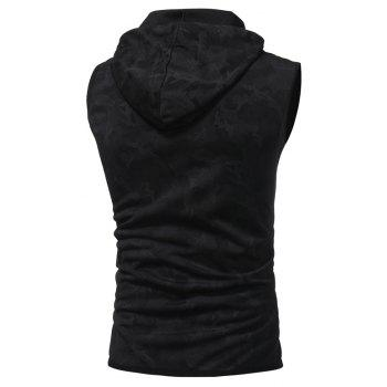 2018 New Spring and Summer Men's Fashion Camouflage Printed Hooded Breathable Casual Vest - BLACK XL