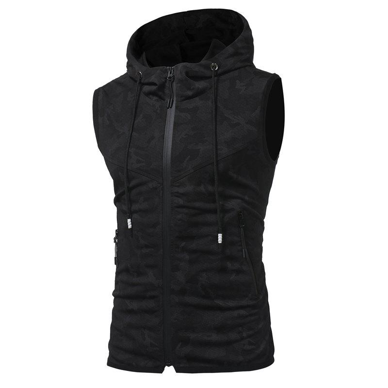 2018 New Spring and Summer Men's Fashion Camouflage Printed Hooded Breathable Casual Vest - BLACK L