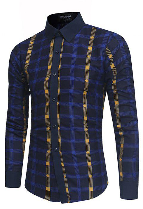 2018 New Spring and Summer Men's Fashion Fight Color Plaid Casual Long-sleeved Shirt - MIDNIGHT BLUE XL