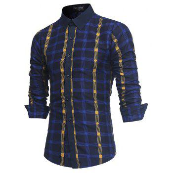 2018 New Spring and Summer Men's Fashion Fight Color Plaid Casual Long-sleeved Shirt - MIDNIGHT BLUE 2XL