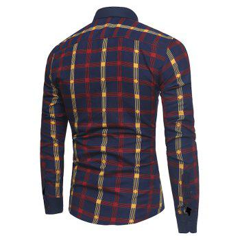 2018 New Spring and Summer Men's Fashion Fight Color Plaid Casual Long-sleeved Shirt - RED XL