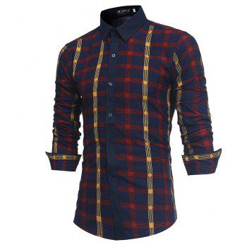 2018 New Spring and Summer Men's Fashion Fight Color Plaid Casual Long-sleeved Shirt - RED L