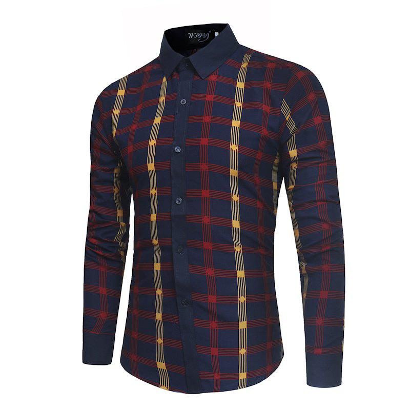 2018 New Spring and Summer Men's Fashion Fight Color Plaid Casual Long-sleeved Shirt - RED 2XL