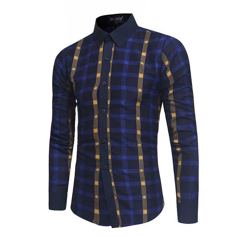 2018 New Spring and Summer Men's Fashion Fight Color Plaid Casual Long-sleeved Shirt - MIDNIGHT BLUE L