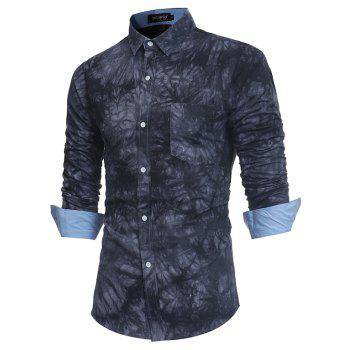 2018 New Spring-summer Men's Casual Dyeing Long Sleeve Shirt - BLACK 2XL