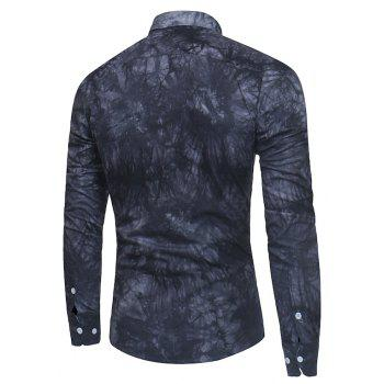 2018 New Spring-summer Men's Casual Dyeing Long Sleeve Shirt - BLACK XL