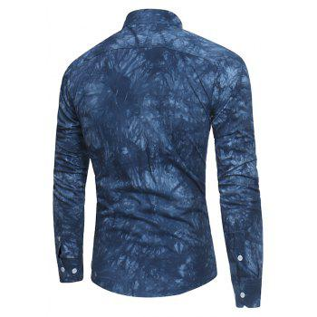 2018 New Spring-summer Men's Casual Dyeing Long Sleeve Shirt - MIDNIGHT BLUE XL