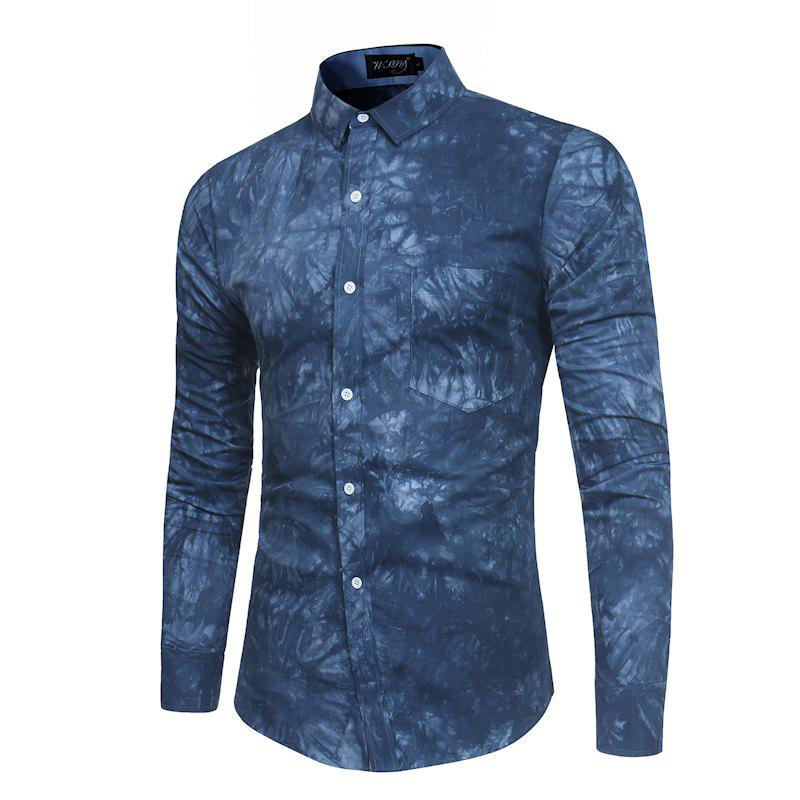 2018 New Spring-summer Men's Casual Dyeing Long Sleeve Shirt - MIDNIGHT BLUE L