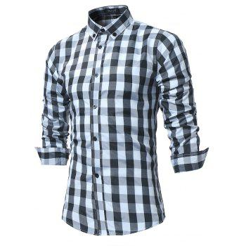 2018 New Spring and Summer Men's Fashion Lattice Slim Long-sleeved Shirt - BLACK XL