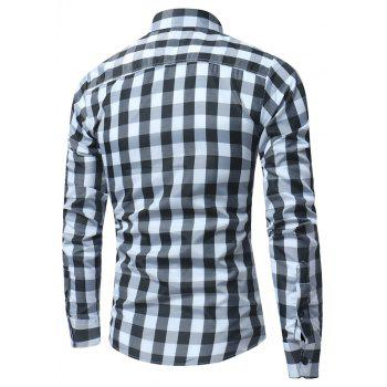 2018 New Spring and Summer Men's Fashion Lattice Slim Long-sleeved Shirt - BLACK 2XL
